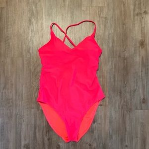 Bright red bathing suit